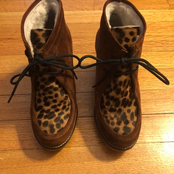 Boden suede/calf hair Sherpa lined leopard wedges